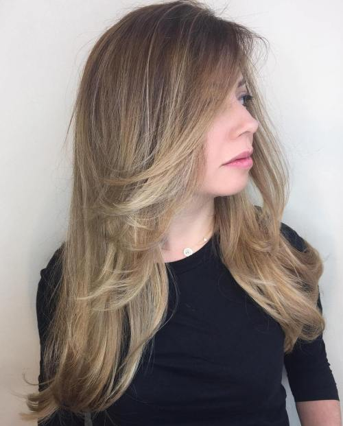 Long Ash Bronde Layered Hairstyle