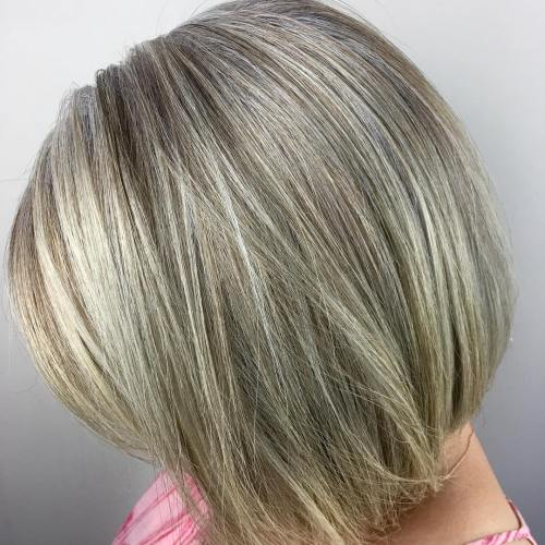 Ash Blonde Bob With Highlights