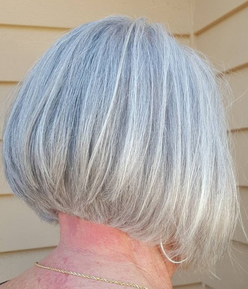 Layered Gray Bob For Older Women