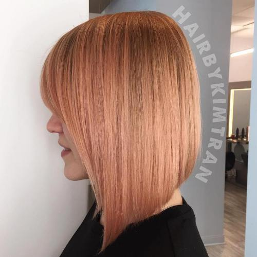 Strawberry Blonde Angled Bob