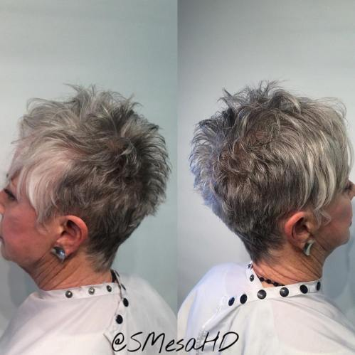 Gray Spiky Pixie Hairstyle