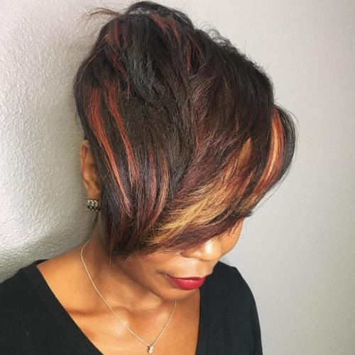 African American Pixie With Long Bangs