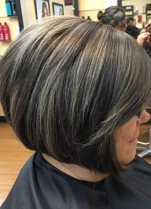 60 gorgeous hairstyles for gray hair black bob with gray highlights pmusecretfo Choice Image