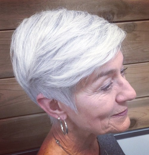 Gray Layered Pixie For Older Women