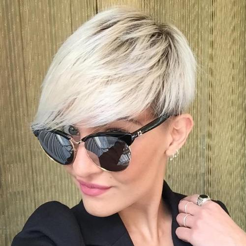 Blonde Pixie With Feathered Bangs