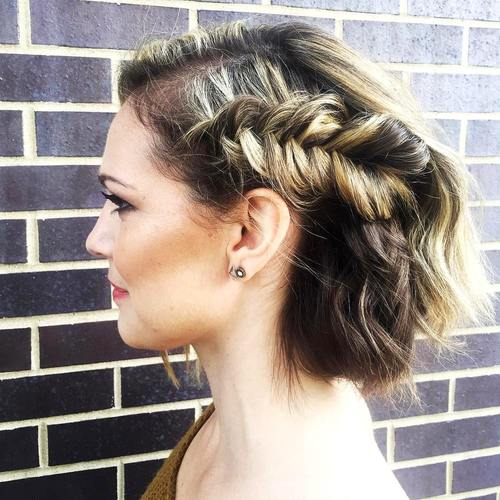 updo with a side fishtail for prom