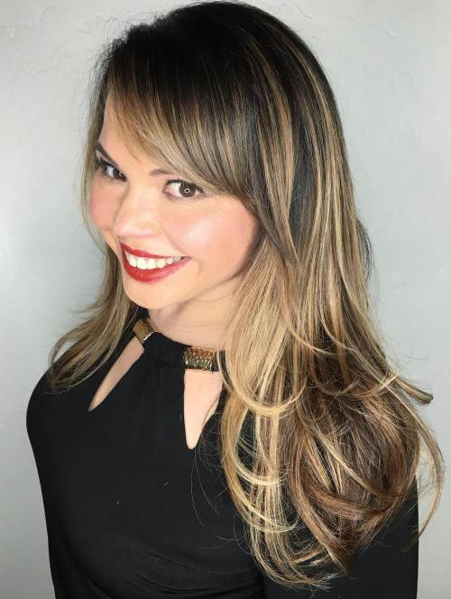 Mid Length Balayage Hair With Side Bangs