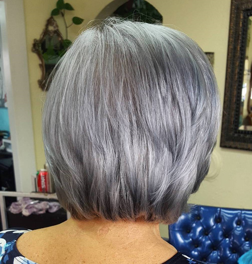 Short To Medium Layered Gray Hairstyle