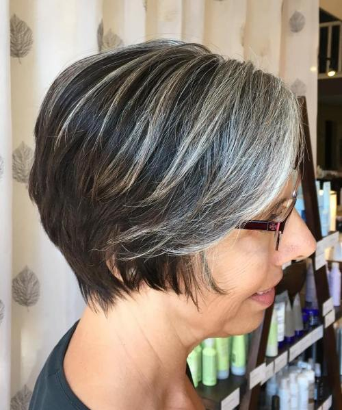 Long Pixie With Gray Balayage