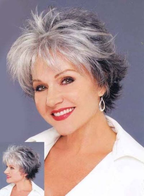 short sassy hairstyle for gray hair