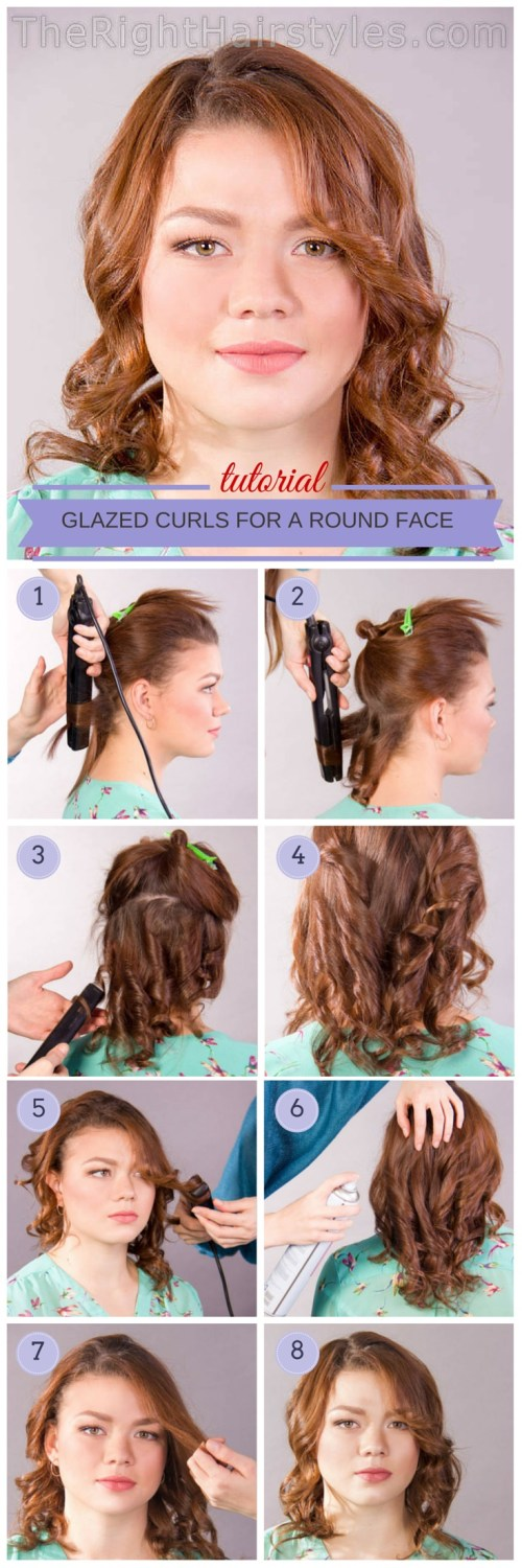 curly hairstyle for round face tutorial