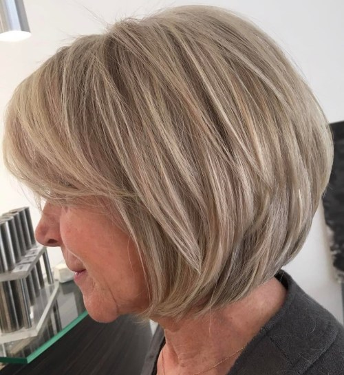 Dirty Blonde Short Bob For Women Over 60