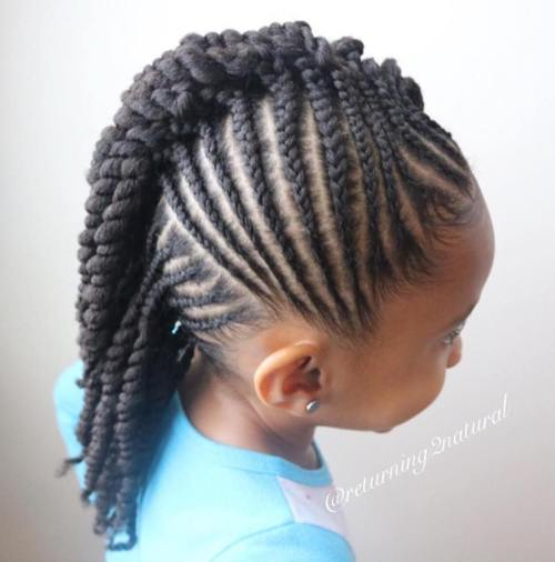 Girls Mohawk With Cornrows And Twists