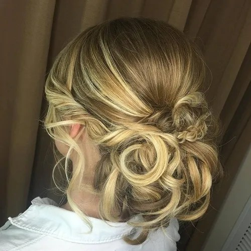 Low Curly Bun For Long Hair