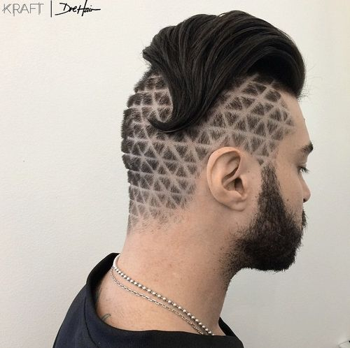 men's long quiff hairstyle with shaved design
