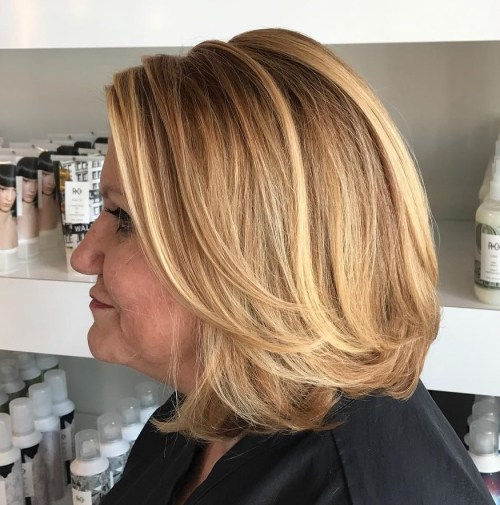 Caramel Blonde Bob With Layers