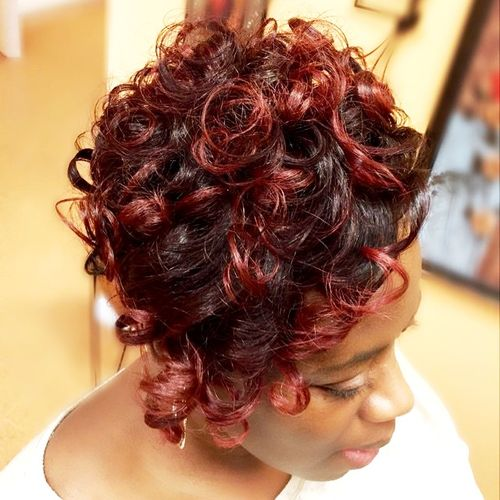 red curly hairstyle for black women