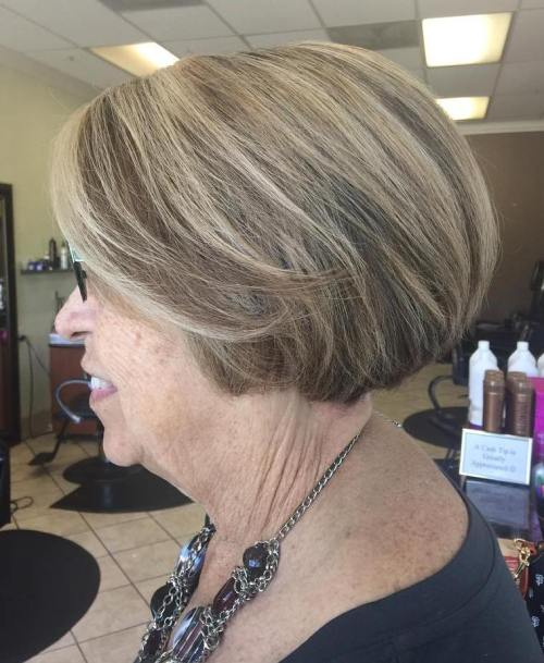 Short Bob With Highlights For Elderly