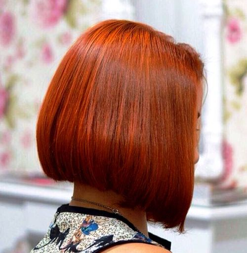 blunt red bob for thick hair