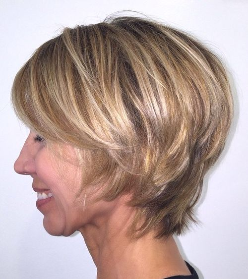 short layered hairstyle for mature women