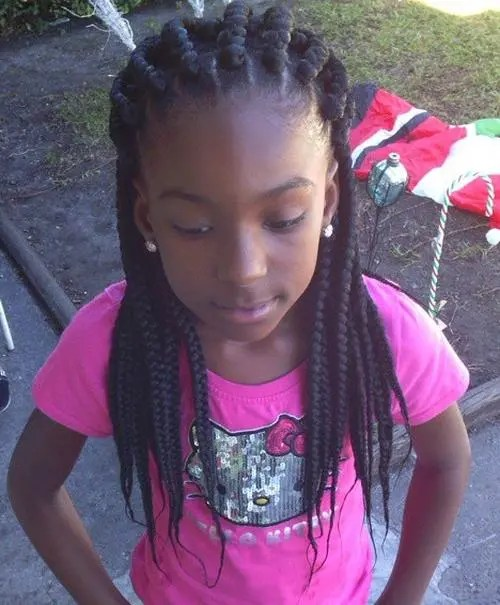 black braided hairstyle with extensions for girls