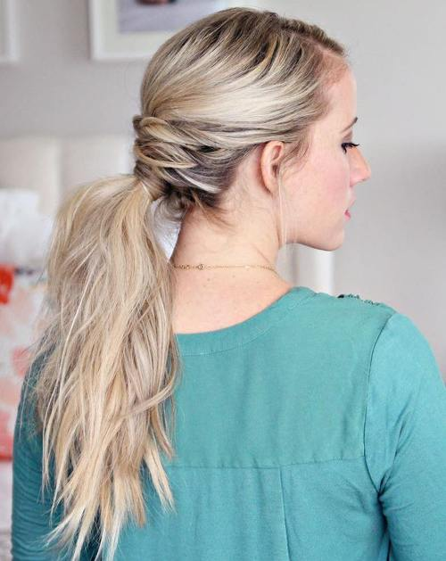 blonde tousled ponytail