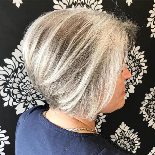 Gray Balayage Bob For Older Women