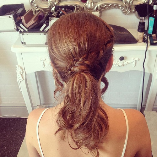 Ponytail With A Braid For Medium Hair