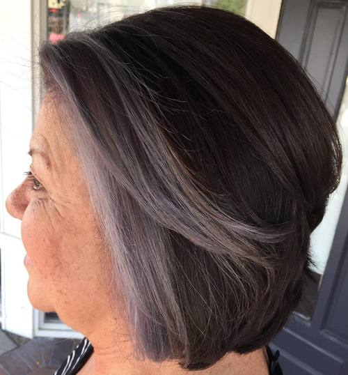over brown bob hairstyle