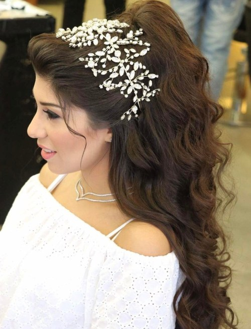 Wedding Wavy Half Updo