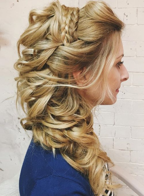 Beautiful Half Up Curly Side Wedding Hairstyle For Long Hair