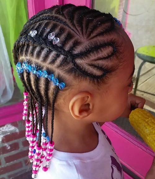 fancy braided hairstyle for little black girls
