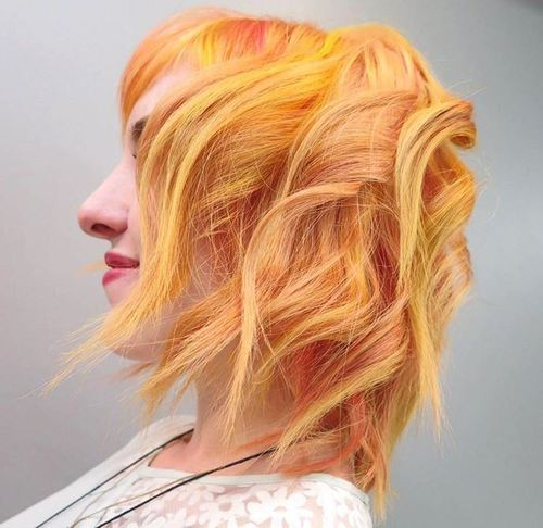 Wavy Pastel Red Bob With Yellow Highlights