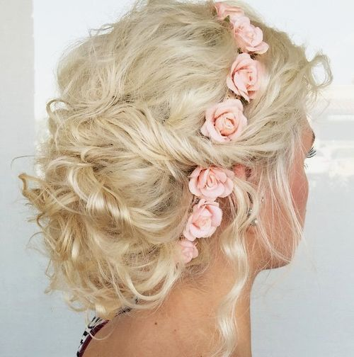 curly messy blonde updo