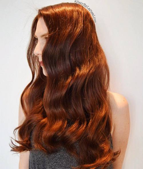 Long Red Wavy Hairstyle for Thick Hair