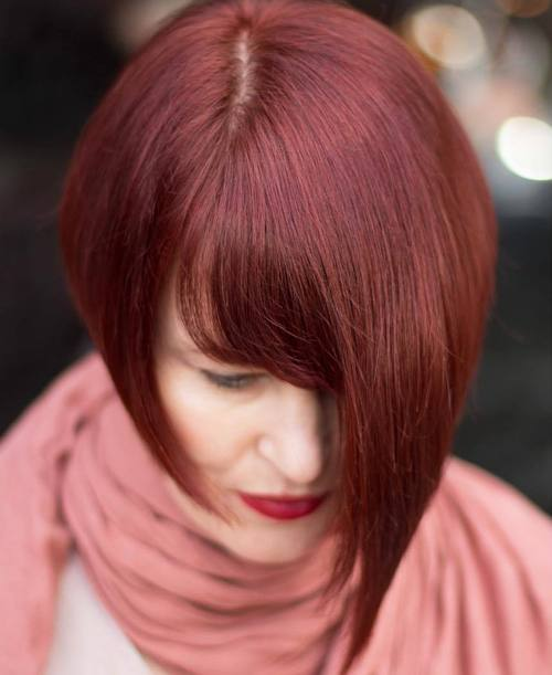 Short Mahogany Red Asymmetrical Bob