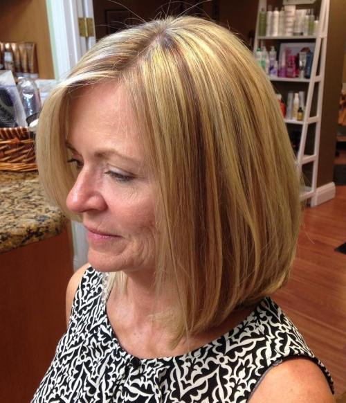 60+ Long Side Parted Blonde Bob