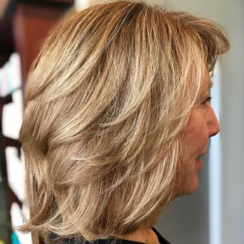 60+ Medium Length Wavy Layered Haircut