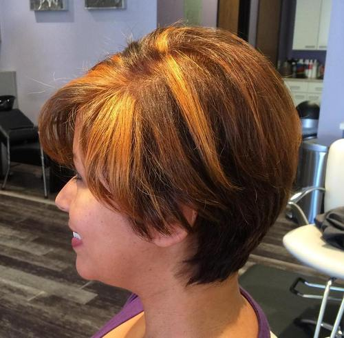 brown pixie bob with bangs and chunky highlights