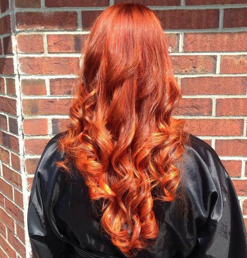 Long Red Hair With Orange Balayage
