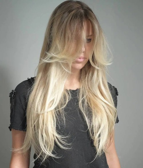 Long Thin Layered Blonde Balayage Hair