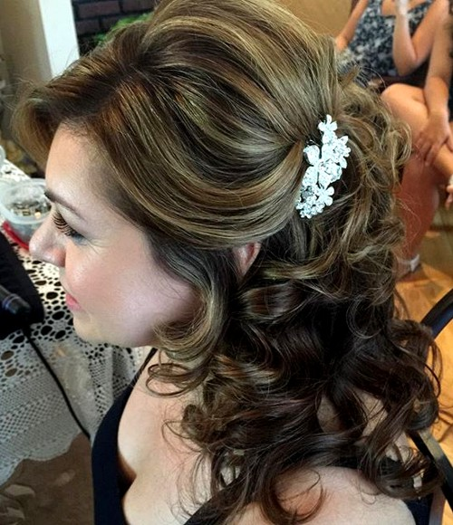 Hairstyles Curly Wedding Hair Down Delectable Half Up Half