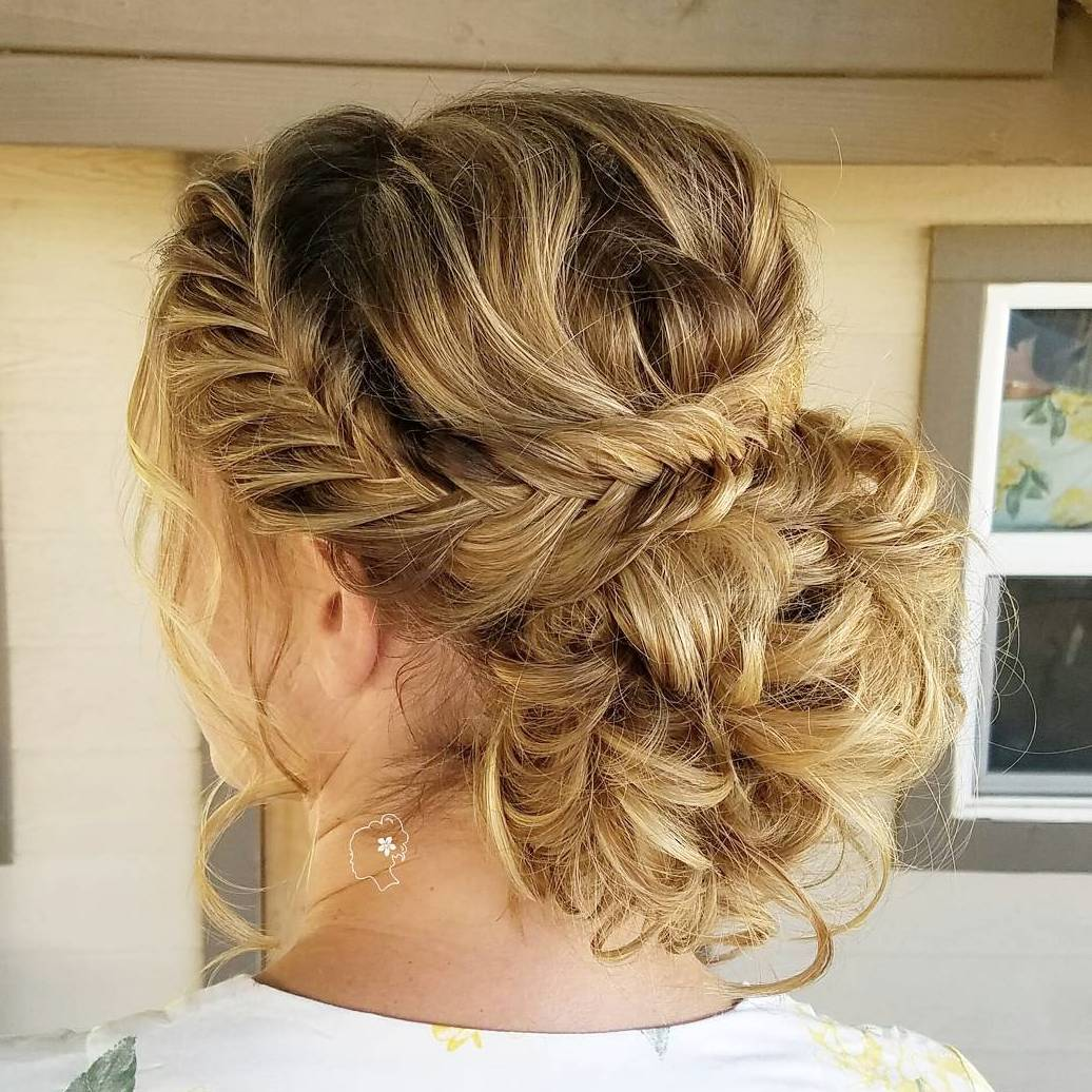 Messy Curly Bun With A Braid