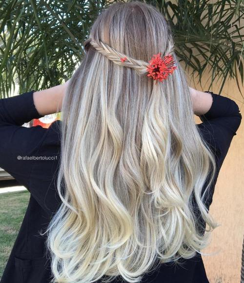 Braided Half Updo For Long Ombre Hair