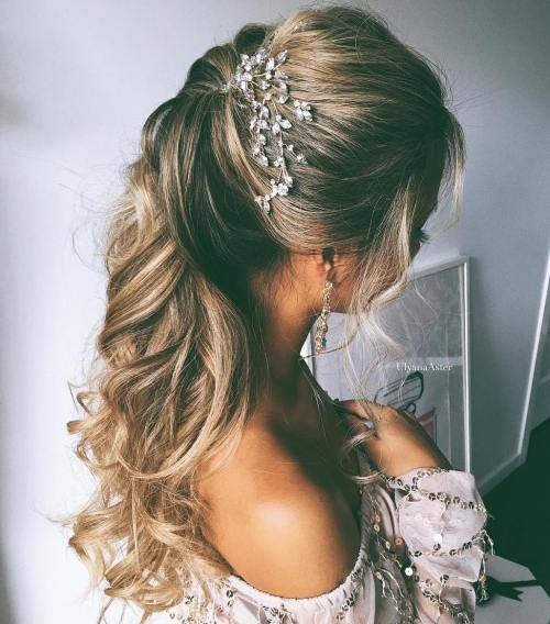 Half up half down wedding hairstyles 50 stylish ideas for brides simple wedding hairstyle for long hair junglespirit Images