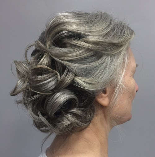 Gray Curly Updo For Mother Of The Bride