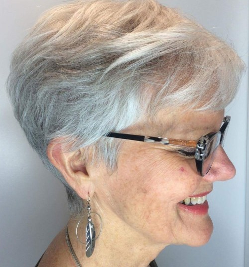 Gray Layered Pixie Cut