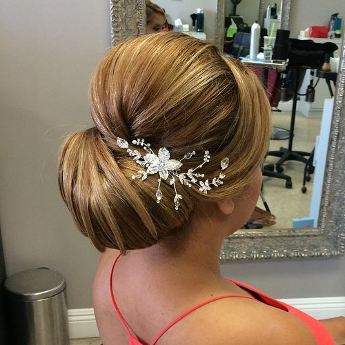 40 chic wedding hair updos for elegant brides wedding chignon with a bouffant junglespirit Choice Image