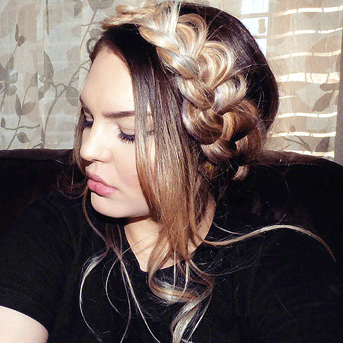 messy dutch crown braid hairstyle