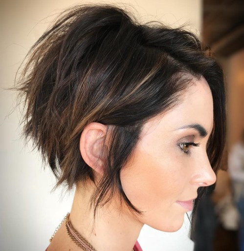 Messy Pixie Bob With Side Bangs
